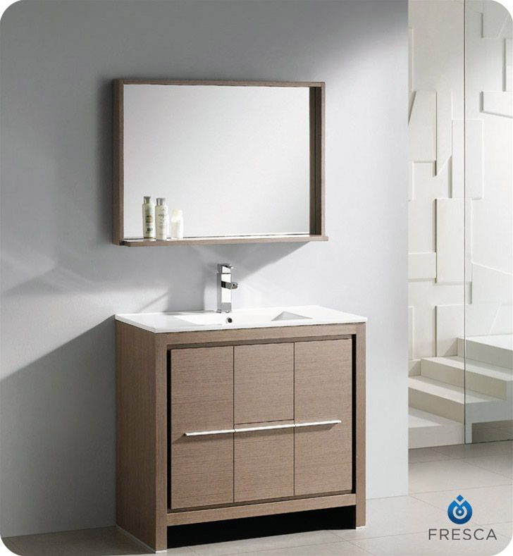 Fresca Allier 36 Inch Modern Bathroom Vanity Grey Oak Finish Pleasing Modern Bathroom Vanity Design Ideas