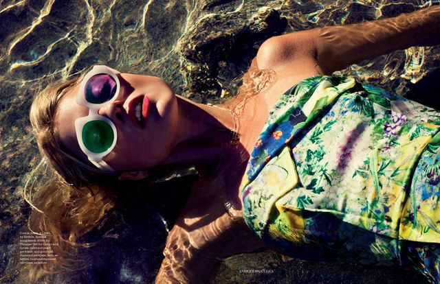 Model Martha Hunt is the heroine of  'The nature of things'  for the Elle UK June 2012 editorial and embraces the tropical spirit!