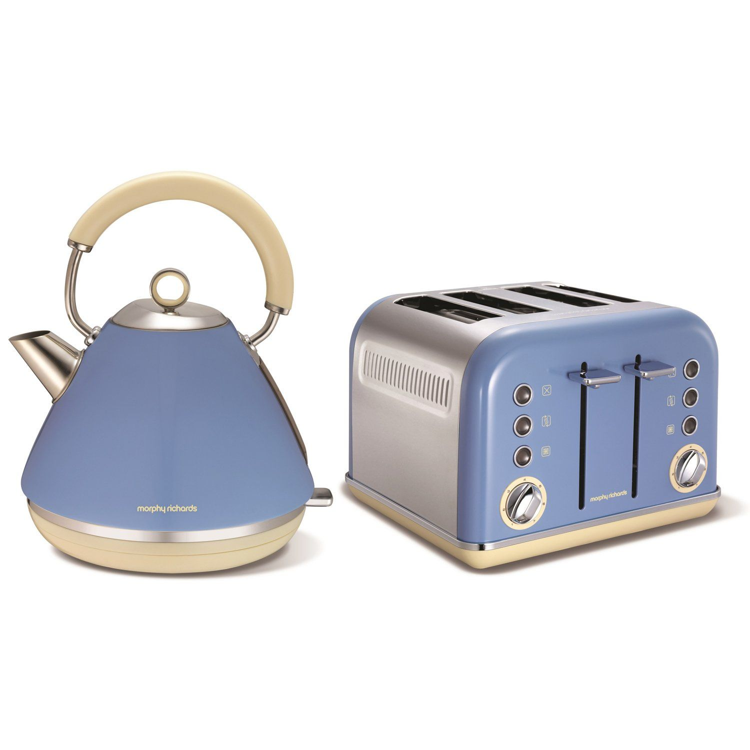 Morphy richards accents blue stainless steel kettle jug for Kitchen set kettle toaster microwave