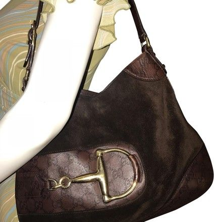 61289a287456 Gucci Horsebit Embossed Logo Suede Brown Leather Hobo Bag - Tradesy