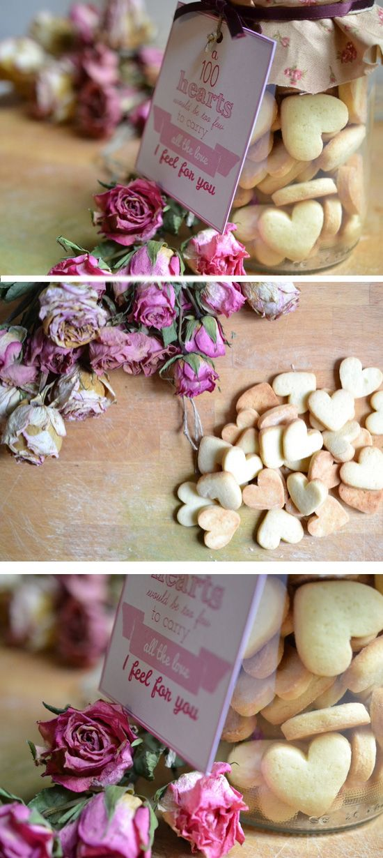 Homemade Heart Cookies in a Jar | Click Pic for 22 DIY Valentine Gifts in a Jar for Men | DIY Valentine Gifts for Friends