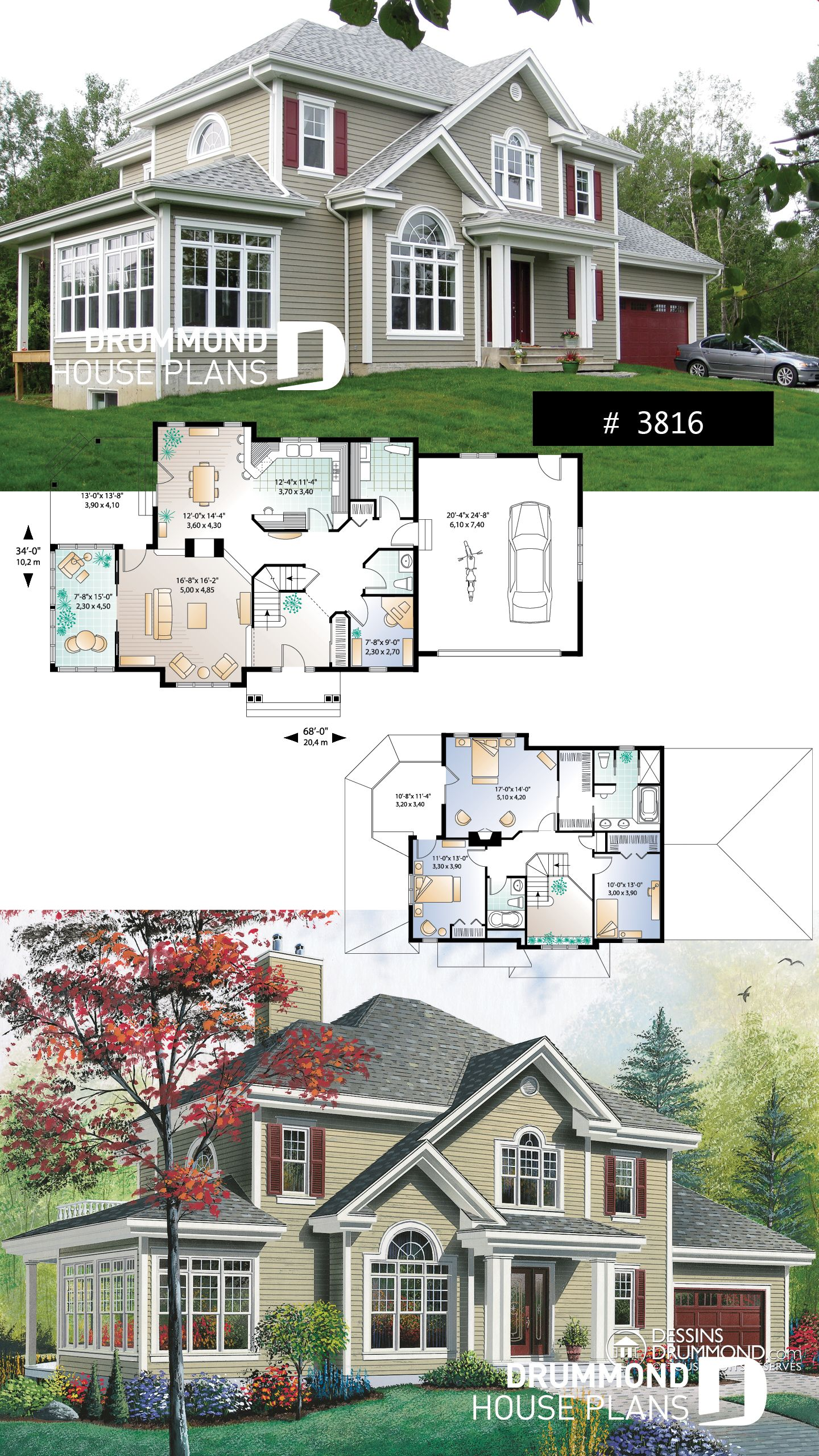 4 bedroom traditional home plan with garage