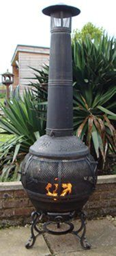 CASTMASTER ALFRESCO CAST IRON 360 DEGREE FIREPIT CHIMINEA.. FREE BBQ GRILL  INCLUDED: Amazon