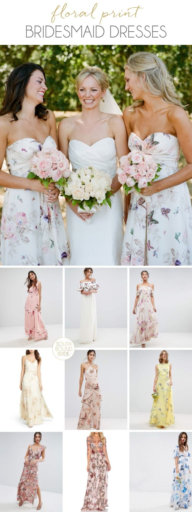 Floral print wedding dresses  Get the Look Floral Print Bridesmaid Dresses  Printed bridesmaid