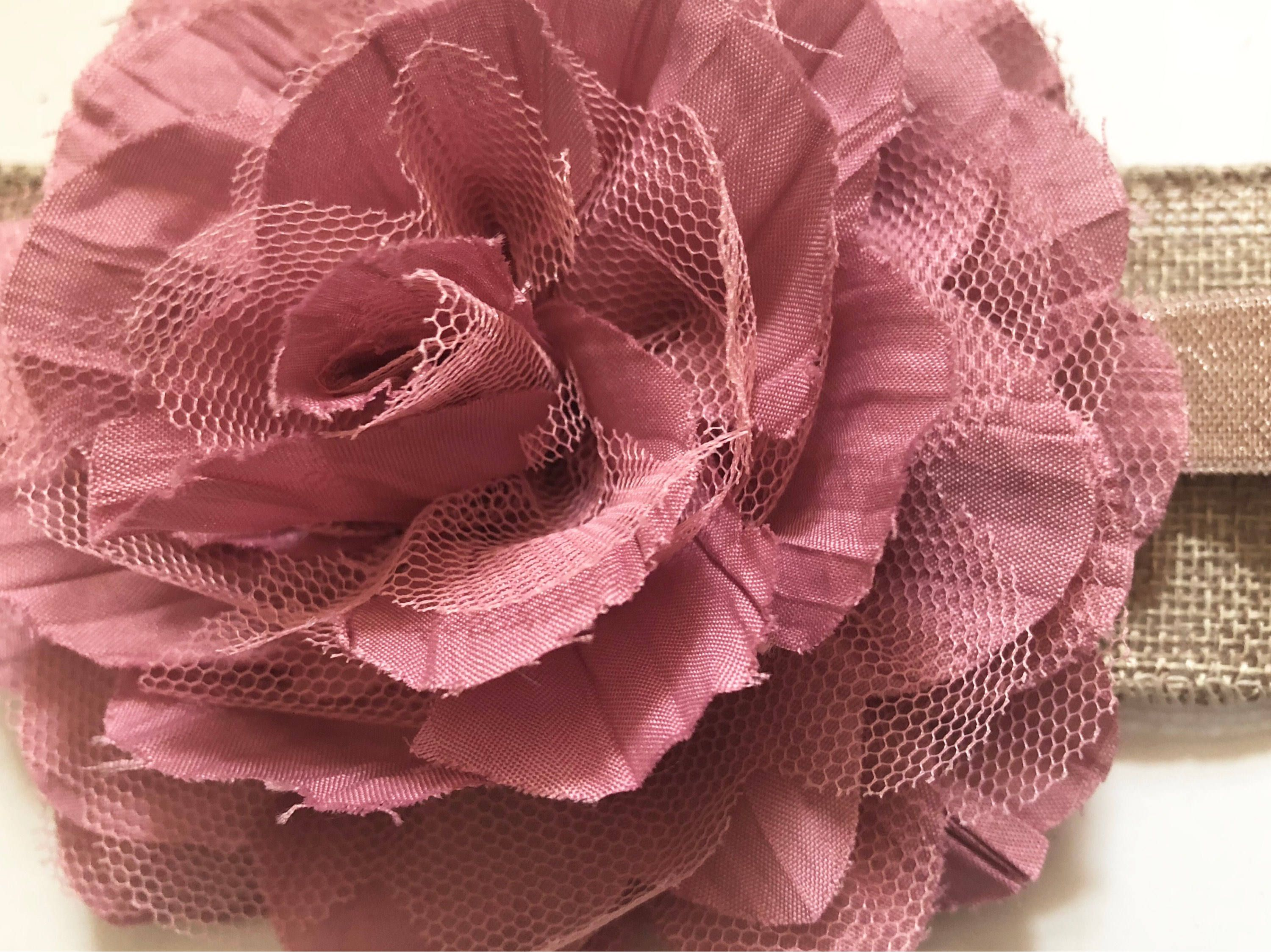 Dusty Rose Mauve Pink Flower 4d Chiffon Mesh Flower Ivorygrey