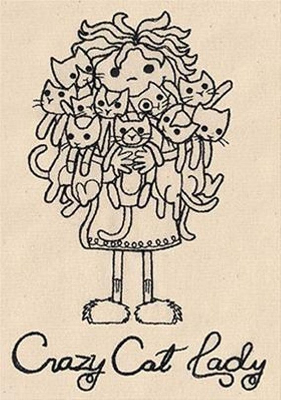 Crazy Cat Lady Embroidered Cotton Dish Towel  Genuine by LoftyLady, $5.50