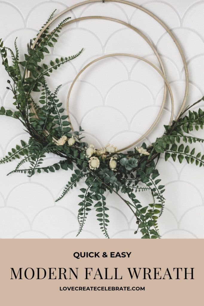 DIY Modern Fall Wreath - Love Create Celebrate :  A gorgeous DIY modern fall wreath for the front door! Embroidery hoops, greenery, and spray paint is all you need… The post DIY Modern Fall Wreath appeared first on Love Create Celebrate.  #celebrate #create #dıy #Fall #homemadeFallWreath #love #Modern #Wreath