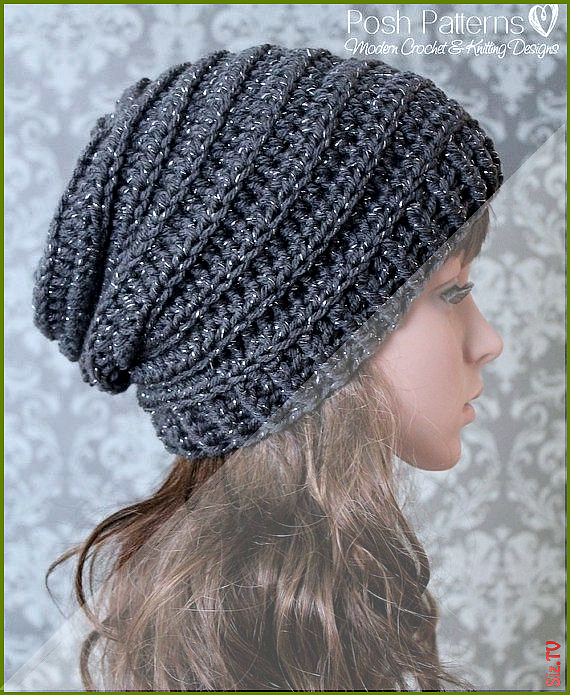 Crochet PATTERN Easy Crochet Pattern Crochet Slouchy Hat Pattern Ribbed Crochet Hat Pattern Baby Child Adult Sizes PDF 429 Crochet PATTERN Easy Crochet Pattern Crochet Sl...