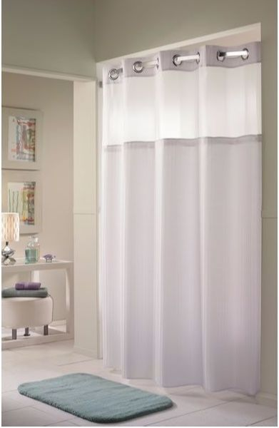 Focus Hbh53dtb01crx White Double H Shower Curtain With It S A Snap
