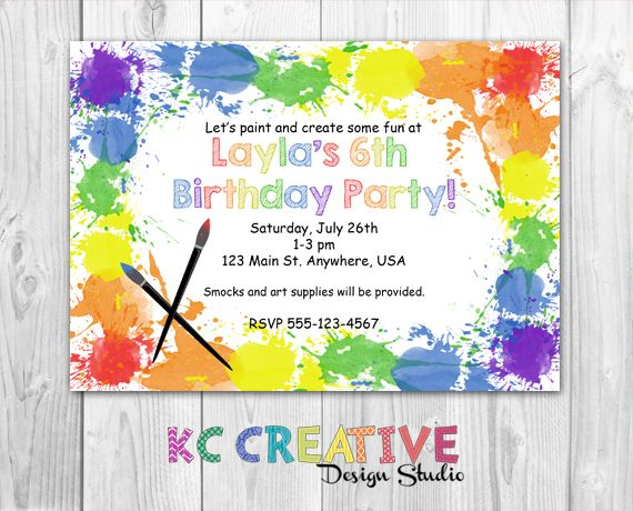 Paint and Create Art Themed Birthday Party Invitation httpswww