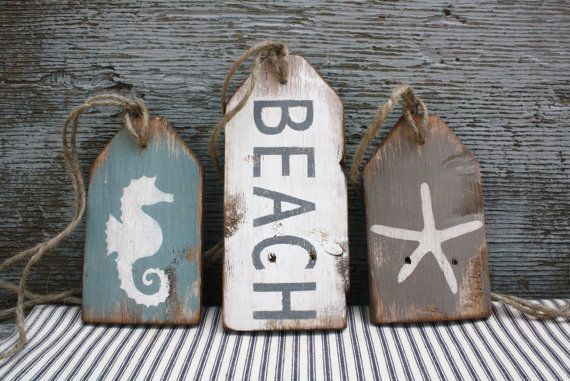 Photo of Beach House Wood Sign, Distressed Beach Tag Set, Beach Decor, Beach Wood Sign, Pool House Decor, Starfish, Seahorse, Rustic Cape Cod Sign