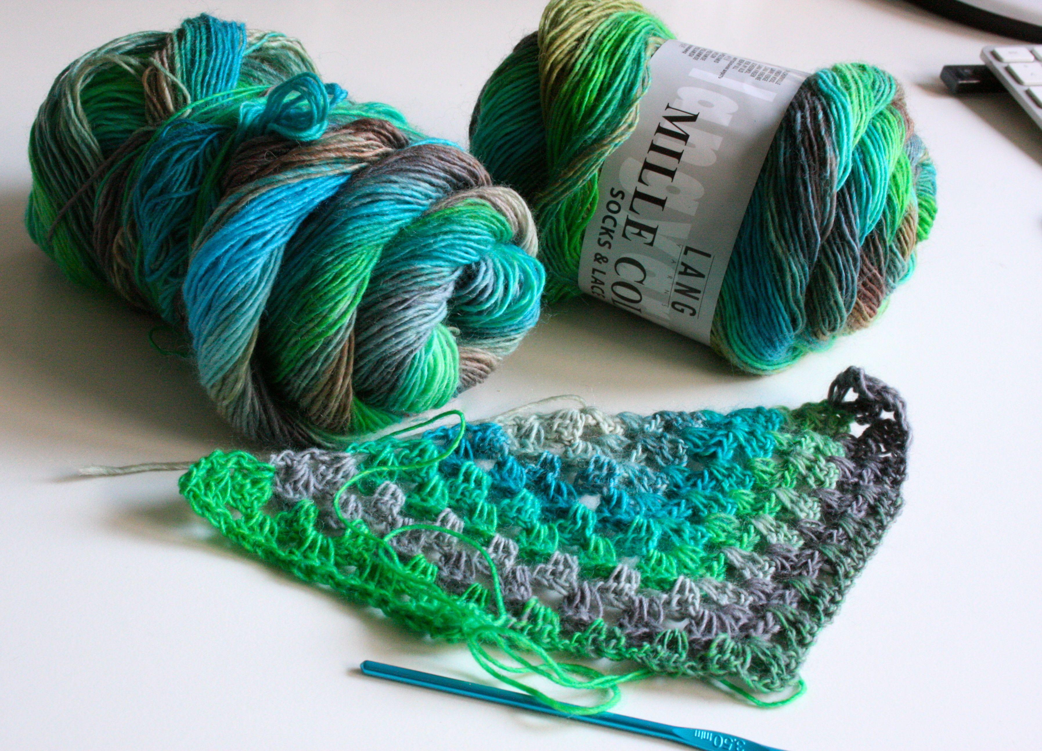 Gehäkeltes Grannysquare Tuch Aus Sockenwolle Häkeln