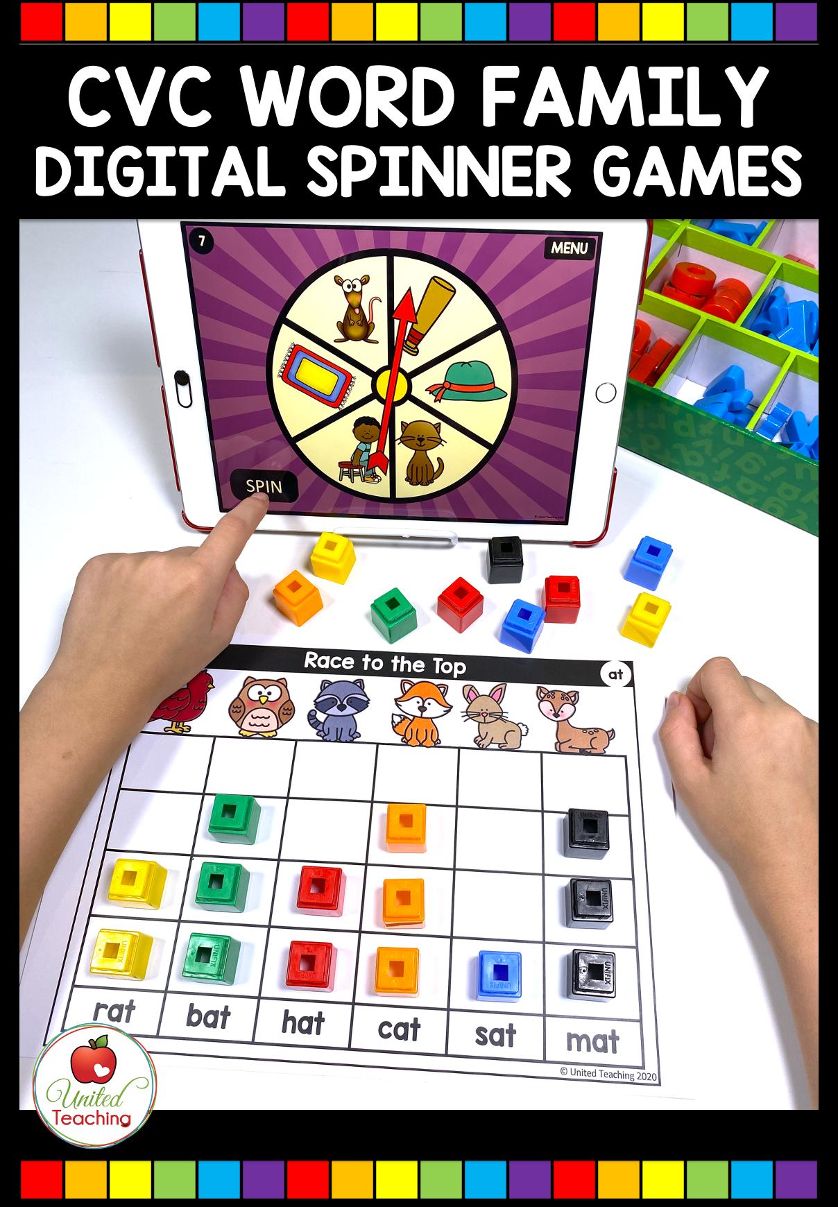 Cvc Word Family Digital Spinner Games