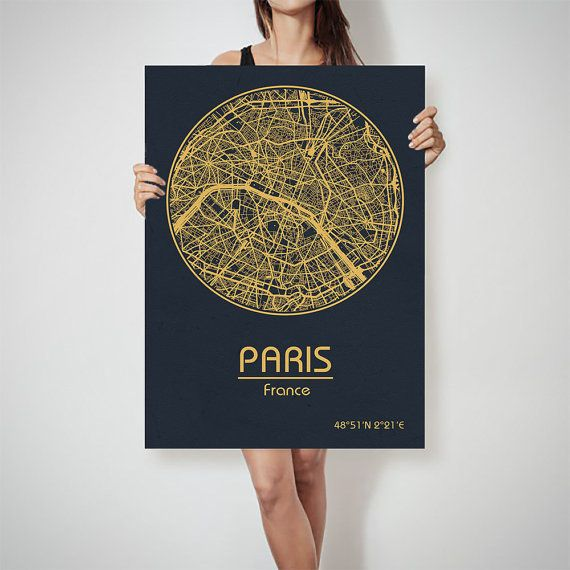 paris france map city street map art print poster by archtravel