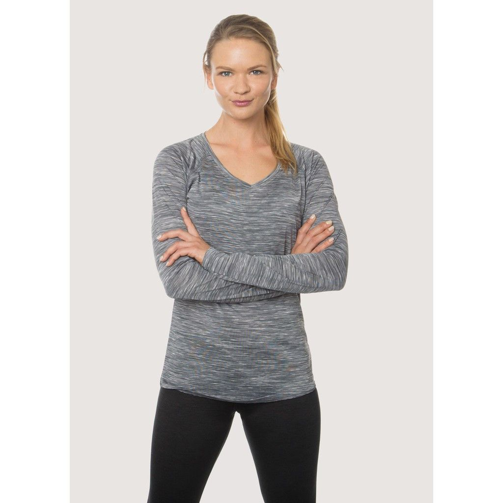 Stratus Speckled Space Dye Long Sleeve V-Neck Tee