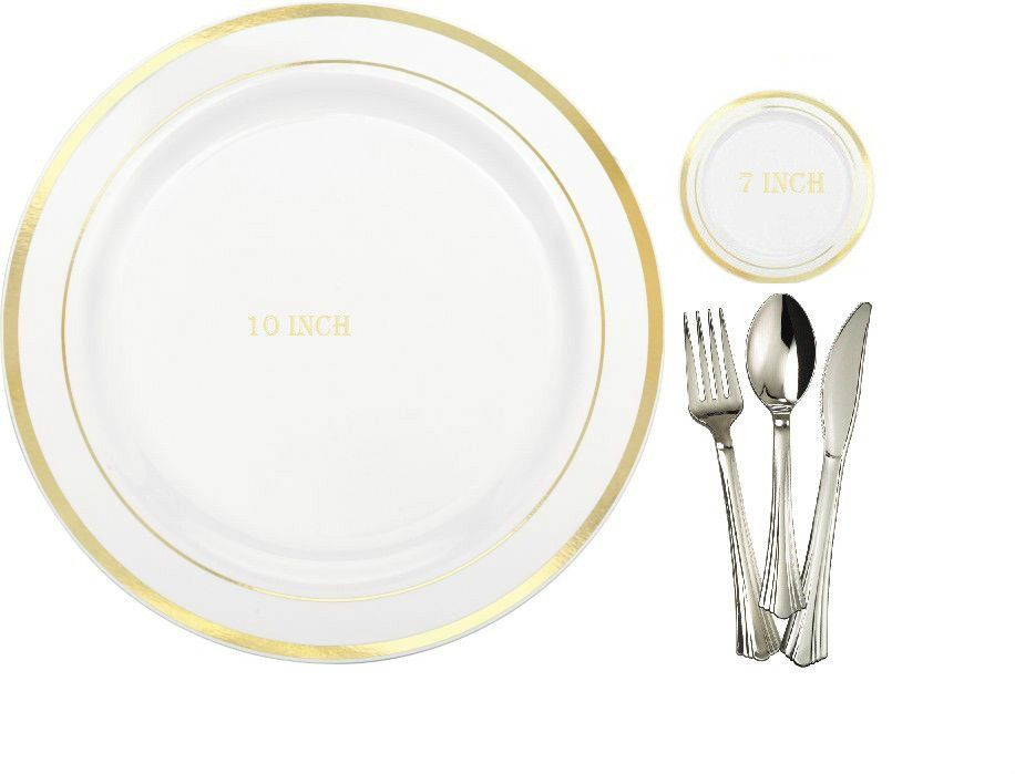 180 People Dinner Wedding Disposable Plastic Plates Silverware Gold Rim Party #Unbranded #Anniversary  sc 1 st  Pinterest & 180 People Dinner Wedding Disposable Plastic Plates Silverware Gold ...