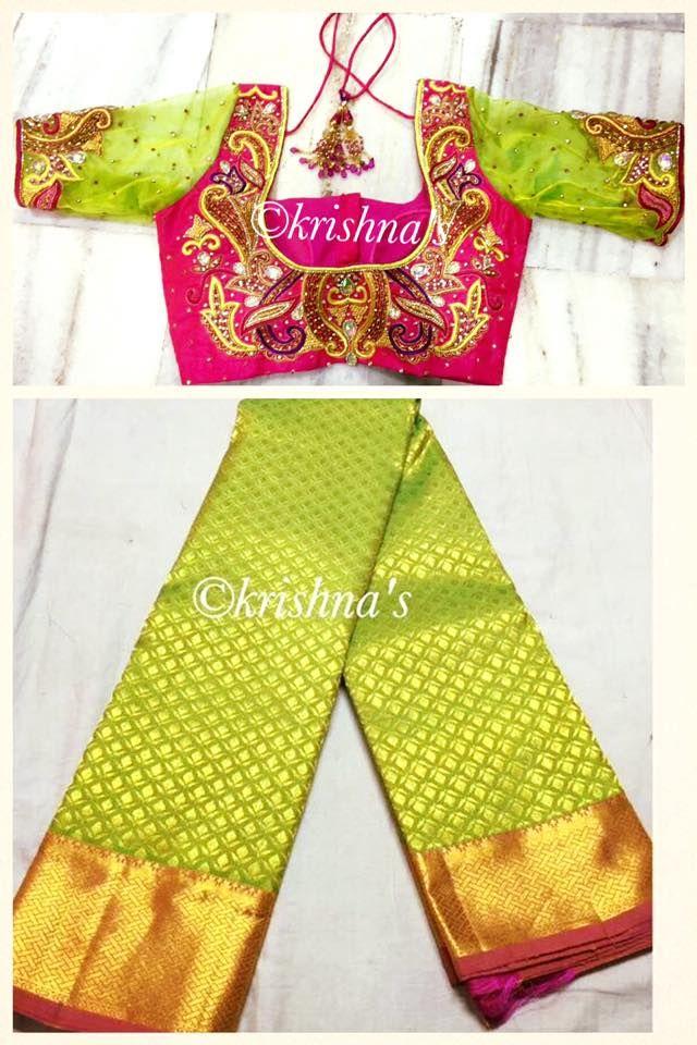 Beautiful bridal kanchivaram Saree paired with our signature designer heavy…
