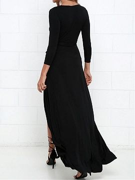 429ddb931428 Shop Black Wrap Front Plunge Long Sleeve Split Maxi Dress from choies.com  .Free