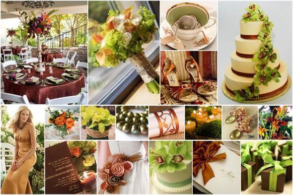 Copper Cream Wedding Green Bouquet Brown Chocolate Coffee