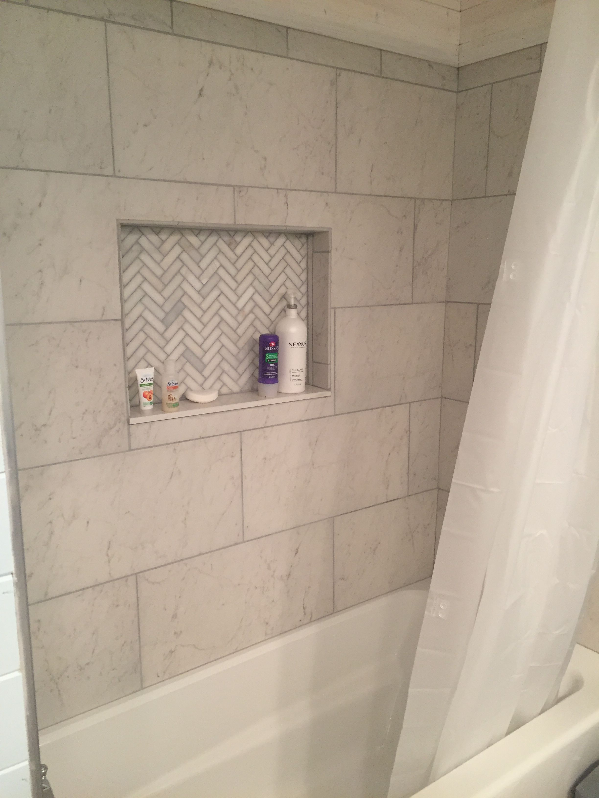 My Finished Shower Marble Tile Jacuzzi Brand Tub Herringbone - What to clean bathroom floors with