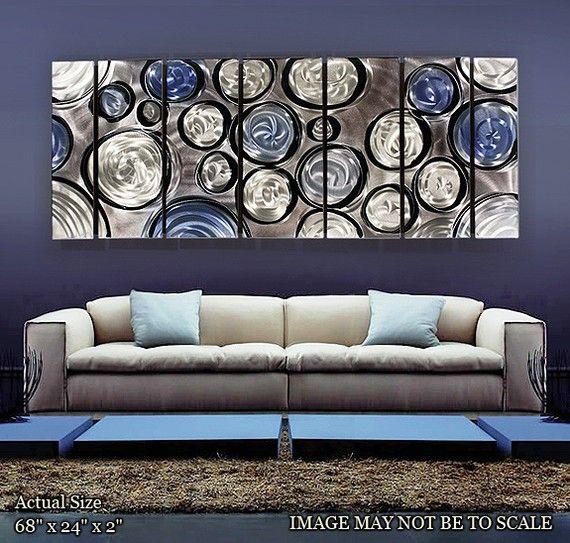 Silver Amp Blue Metal Wall Art Multi Panel Wall Art