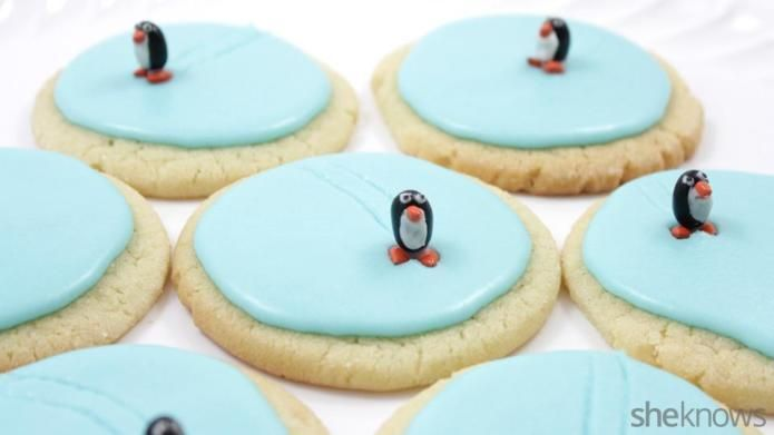 Turn frosted sugar cookies into edible ice rinks complete