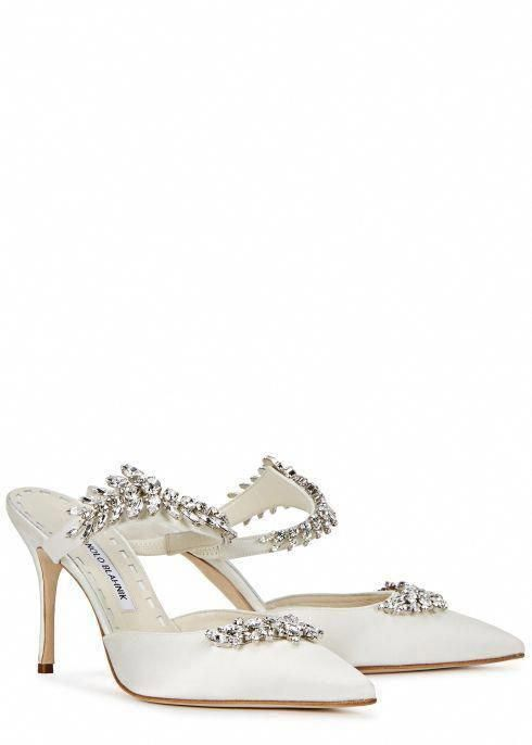 483ed448b86bb Lurum crystal-embellished silk satin mules - Manolo Blahnik #ManoloBlahnik