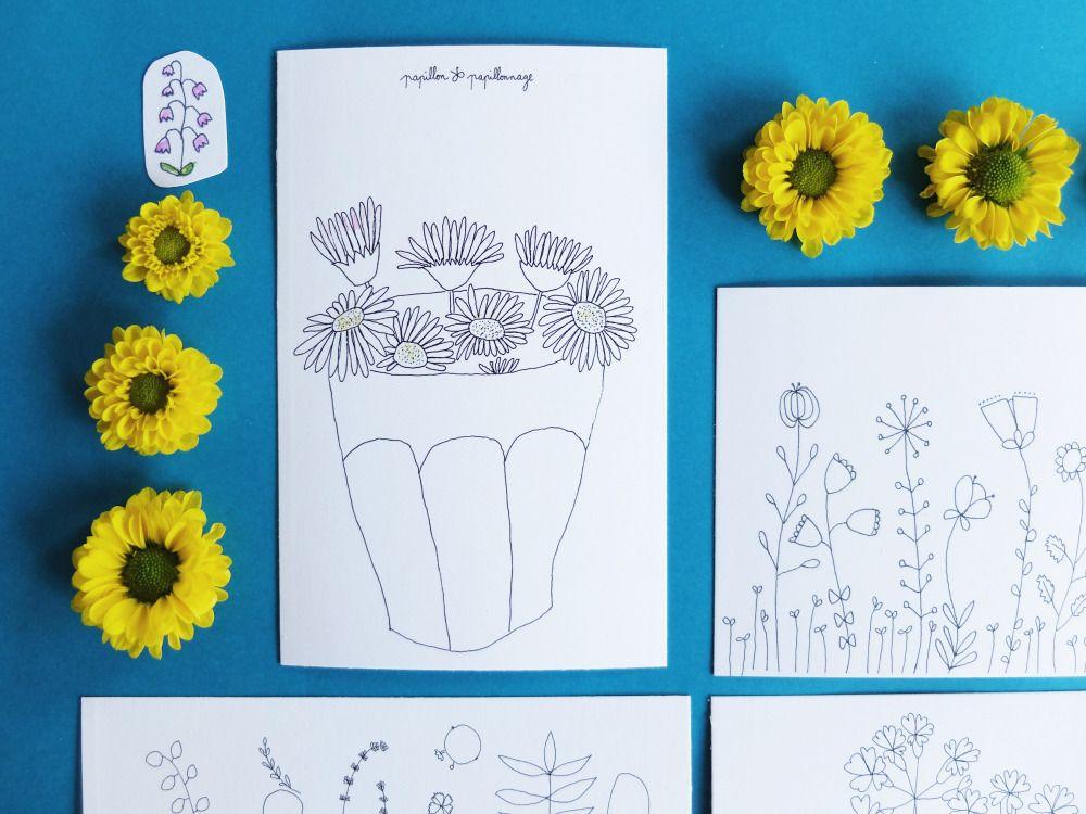 Image of 4 petites cartes : Les fleuries