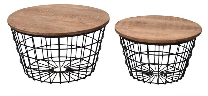 2er Set Couchtisch Adele Rund Metallkorb Stauraum Beistelltisch Sofatisch Neu Sofa Tisch Couchtisch Korb Couchtisch