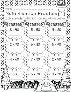 Third Grade Camping Themed Distance Learning Printables