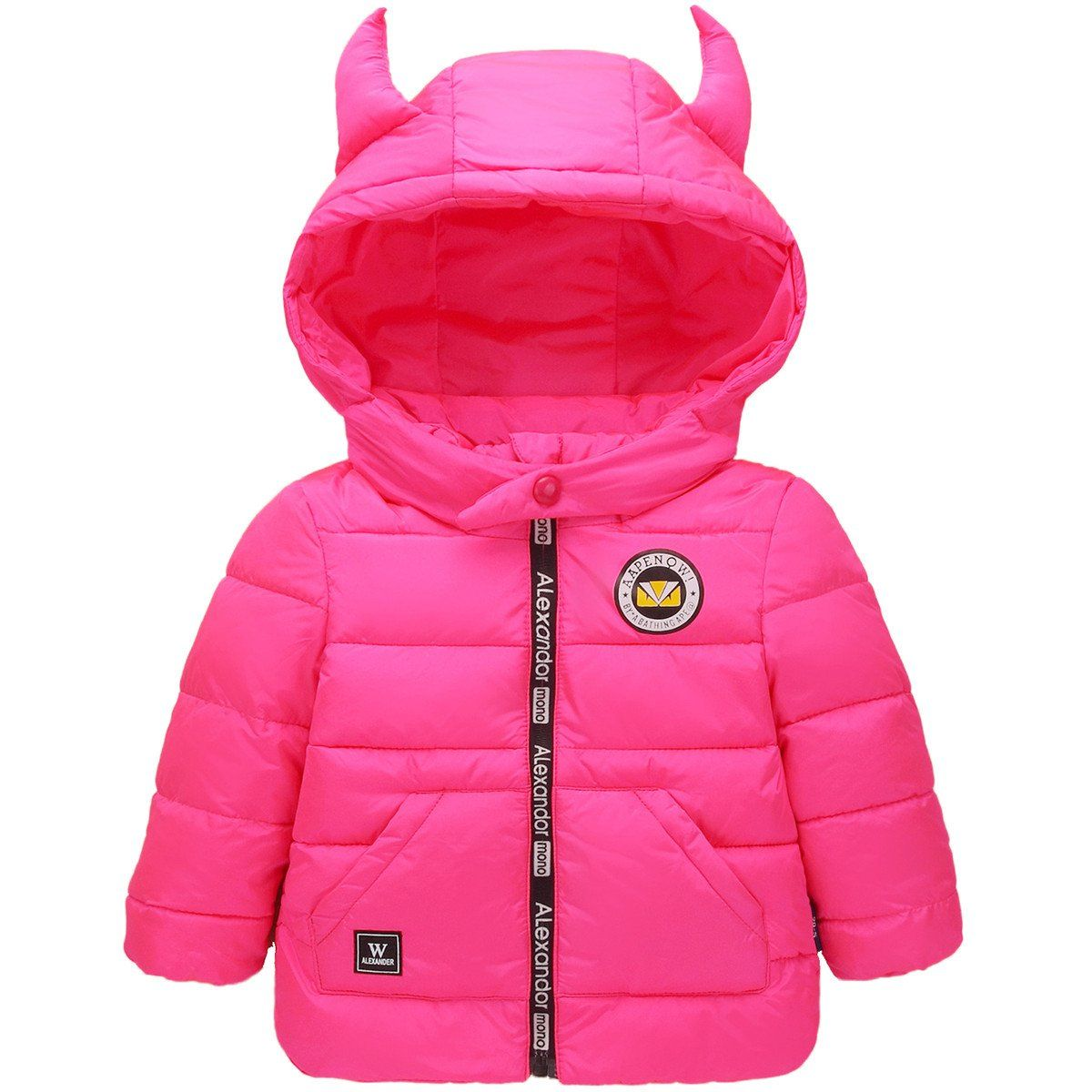 befff15b9 Little Boys Girls Kids Lightweight Horns Hooded Puffer Coat Down ...