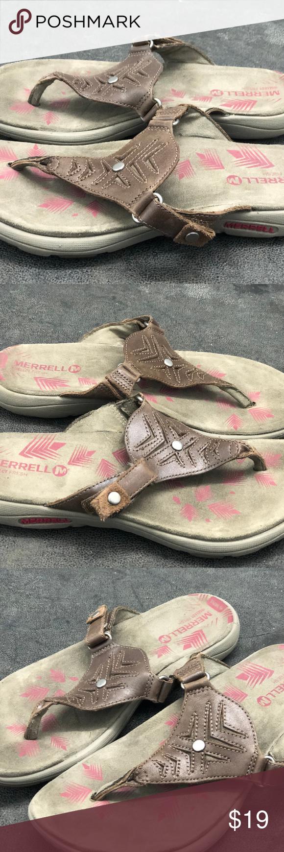 9790cfb1af1c Merrell J55182 Women s ADHERA Brown Thong Sandals Merrell J55182 Women s  ADHERA Brown Thong Sandals Size 6