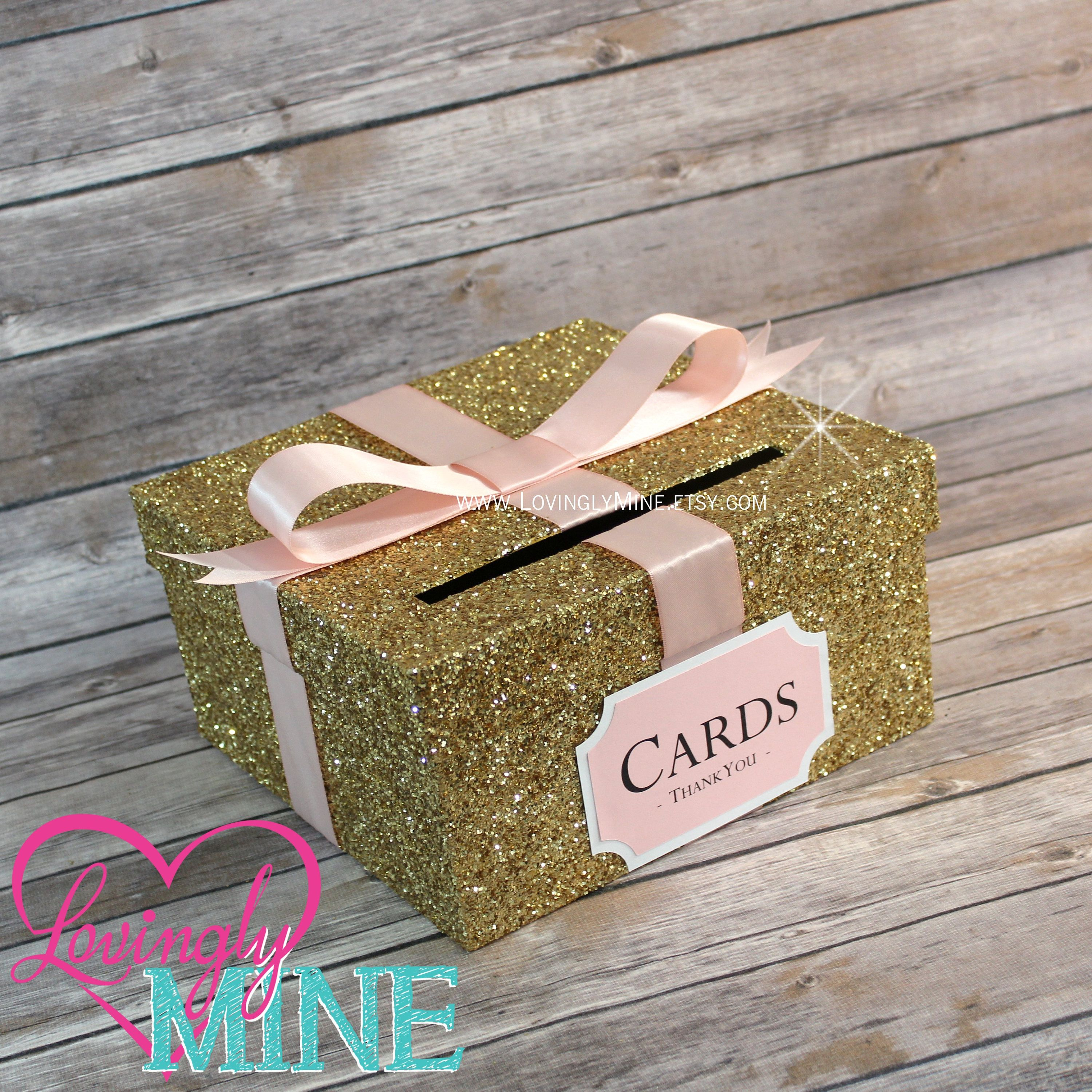 Card Box Glitter Gold Blush Pink White Gift Money For Any Event Baby Shower Wedding Bridal Birthday Party Graduation By Lovinglymine