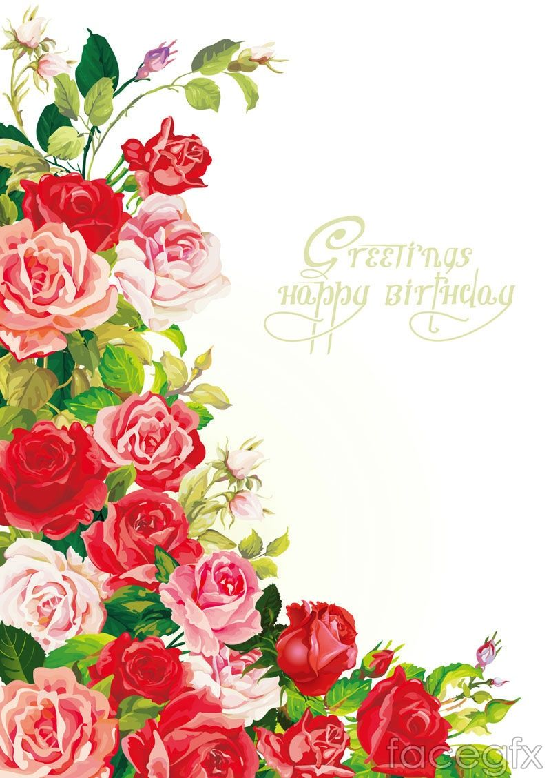 Beautiful Roses Birthday Background Vector For Free Download Com
