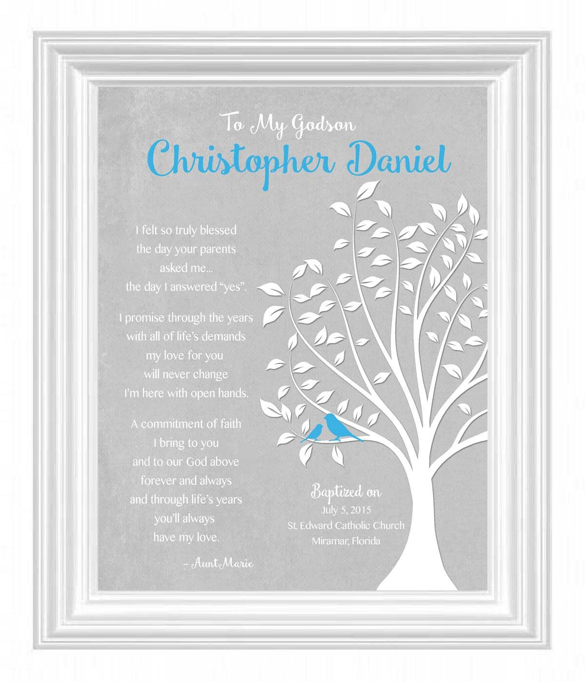 godson gift personalized - custom gift for godson on baptism day