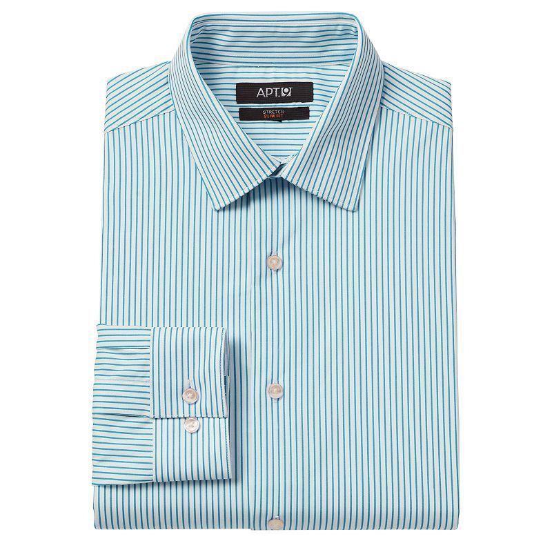 Men's Apt. 9® Slim-Fit Bright Striped Stretch Spread-Collar Dress Shirt, Size: 1