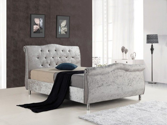 The Capri Bed Is A Crushed Velvet Sleigh With Black Contrast Tufts And Side