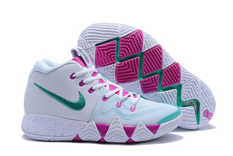 7cfe753aca25 2018 Nike Kyrie 4 White Pink-Mint Green Men s Size Free Shipping