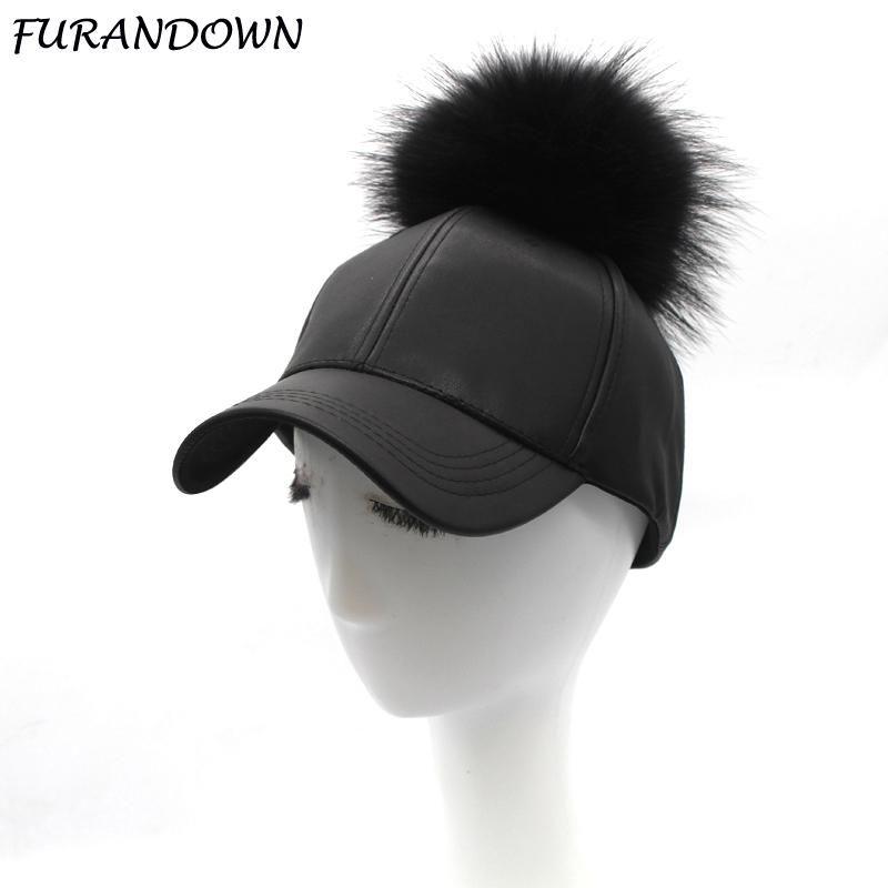 c126e883be3 FURANDOWN 2018 Winter Fur Pompoms Hat Hip Hop PU Leather Baseball Cap For  Women Pompon Snapback Caps. Yesterday s price  US  17.80 (15.38 EUR).