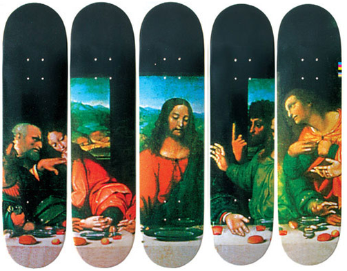 Supreme - Last Supper deck collection. [If I could buy this whole set I wouldn't dare shred them on a pavement, instead I'd totally hang them in a line across a dining room wall as a Last Supper painting]