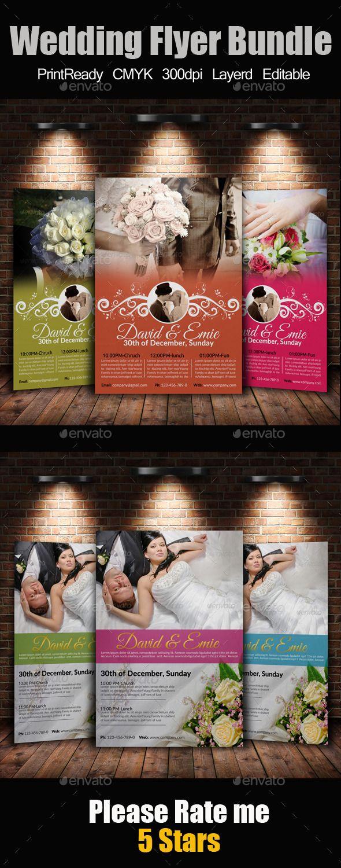 A4 Wedding Flyer Bundle — Photoshop Psd #wedding Flyer #bundle • Available  Here → Https://graphicriver.net/item/a4-Wedding-Flyer -Bundle/9445596?ref=Pxcr