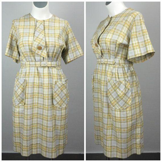 Vintage 50s Yellow Plaid Secretary Dress | 60s Ascot Tie ...