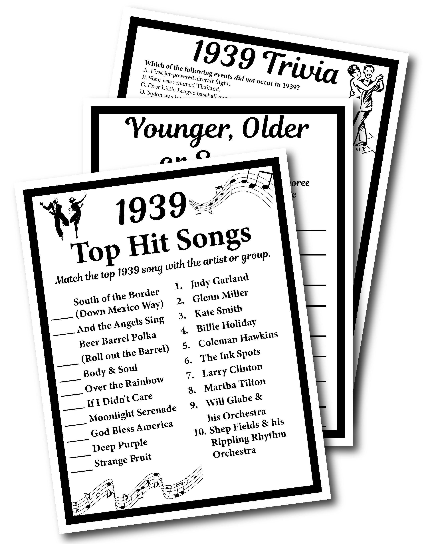 1939 Birthday Trivia Game 1939 Birthday Parties Instant