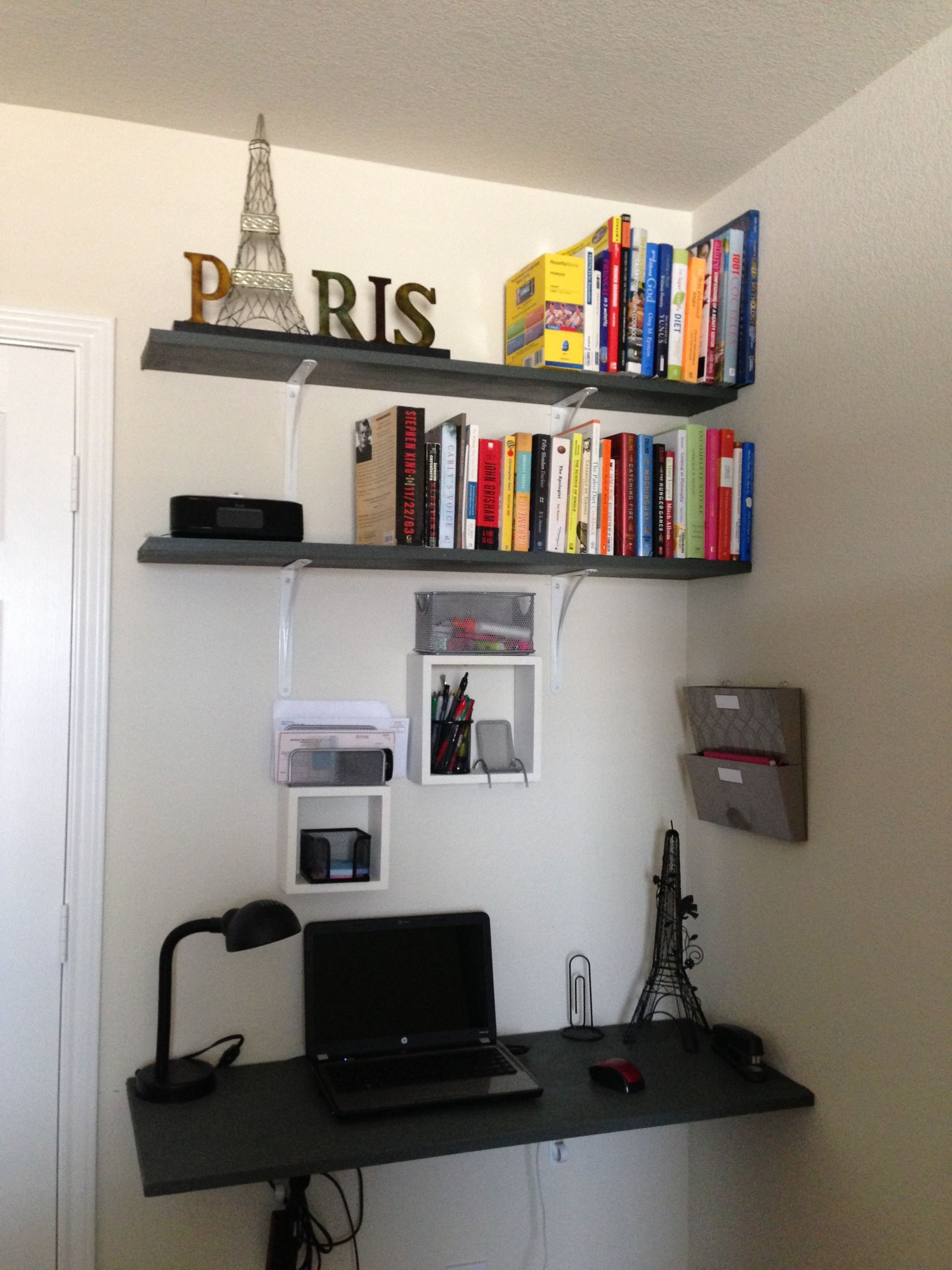 diy desk use shelves to create office space space saver on creative space saving cabinets and storage ideas id=95603