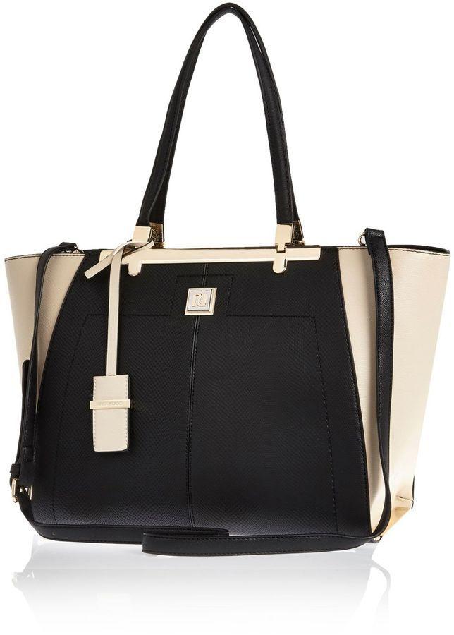 River Island Womens Black Winged Tote Handbag