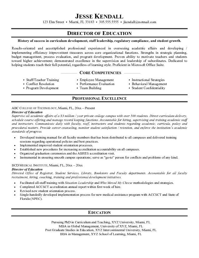 sample education resume examples