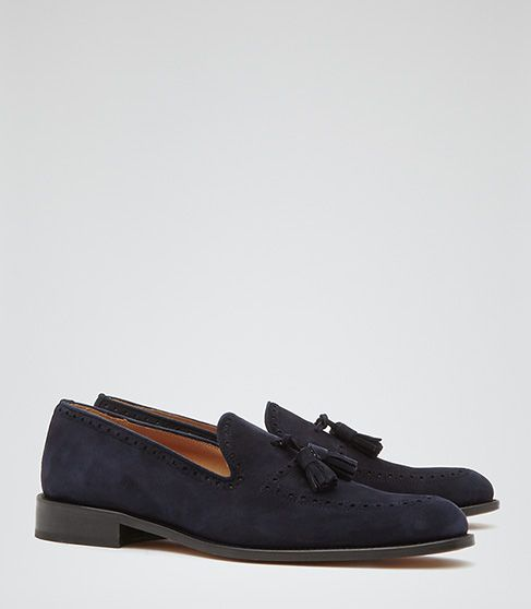 897a358fa66 Yes.     REISS Anstice Blue Suede Tassel Loafers.