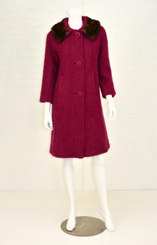 1950's Vintage Women's M Magenta Wool Coat Evening Swing Coat Mink ...