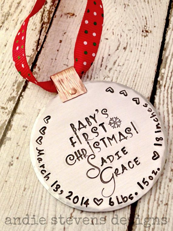 Personalized babys first christmas ornament hand stamped baby personalized babys first christmas ornament hand stamped baby name date birth statistics christmas negle Image collections