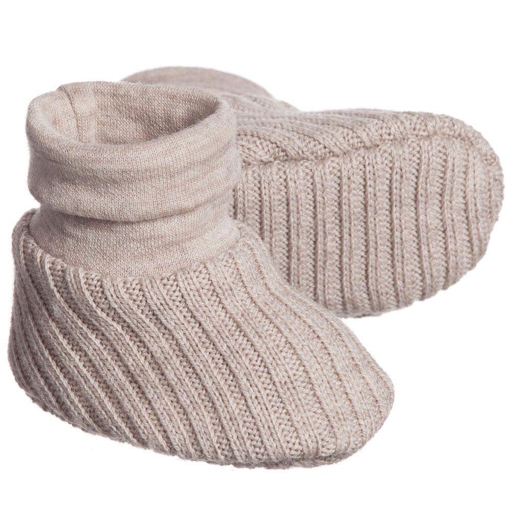 Beige Wool Knitted Baby Bootees, Joha Babytøj